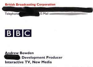 My BBC business card