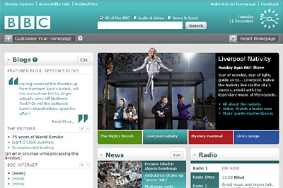 BBC homepage design for 2007