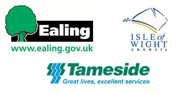 Ealing, Isle of Wight and Tameside council logos