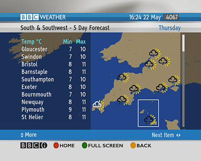 Weather map on the Freesat version of BBCi