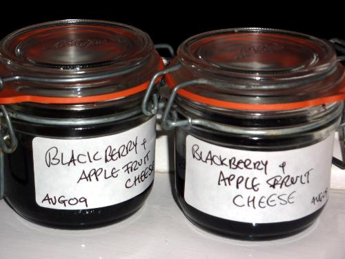 Two jars of homemade blackberry and apple fruit cheese