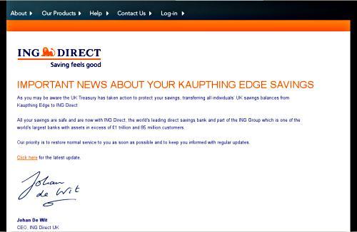 Kaupthing Edge homepage on 31 October 2008