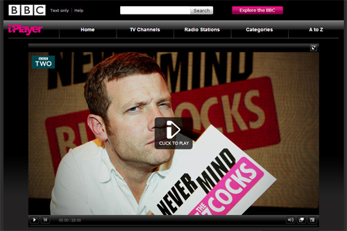 Screenshot of Never Mind the Buzzcocks on BBC iPlayer - taken on 4 December 2009