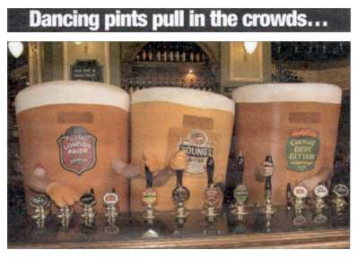 Three giant pint pots on the bar