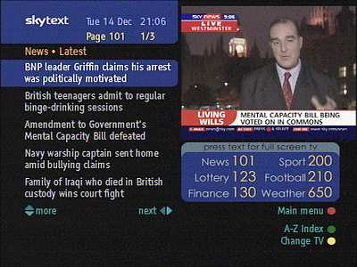 Sky Text's news headlines page