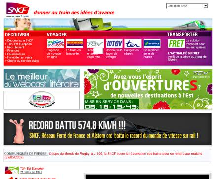 SNCF website on 3 June 2007