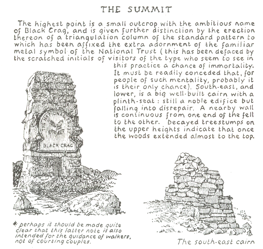 A Wainwright's depiction of a National Trust logo in his guide to the Southern Fells