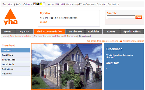 Screenshot of the Greenhead hostel on the YHA's website