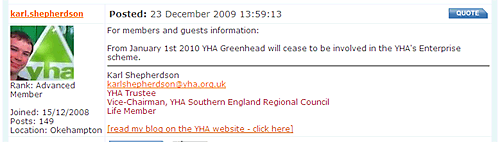 Screenshot of YHA Forum announcing changes at Greenhead